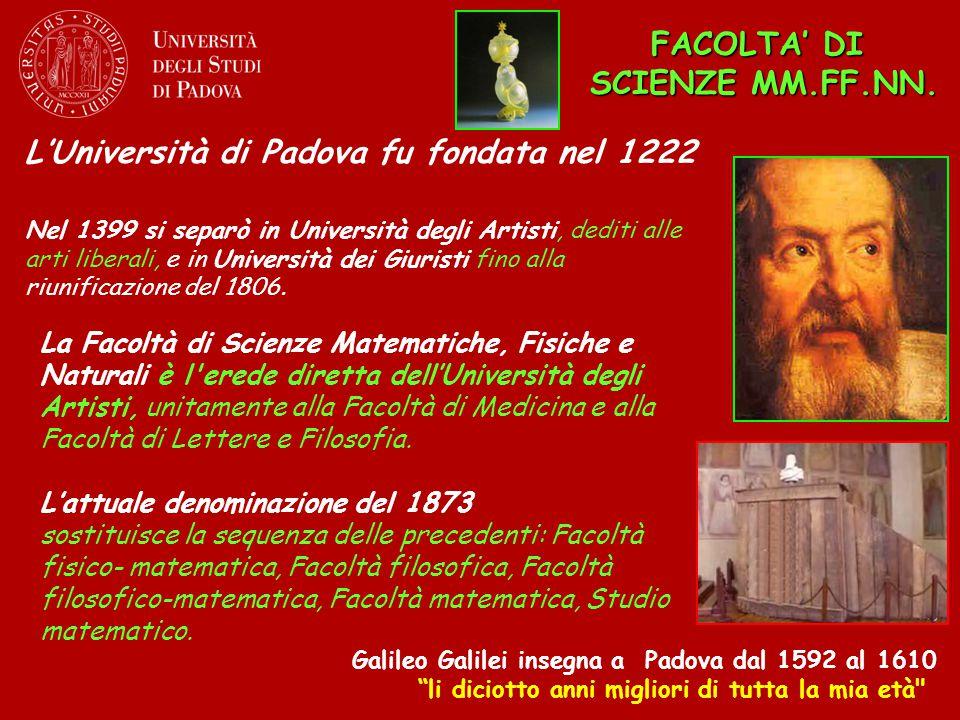 """L'Università di Padova fu fondata nel 1222 FACOLTA' DI SCIENZE MM.FF.NN. Galileo Galilei insegna a Padova dal 1592 al 1610 """"li diciotto anni migliori"""