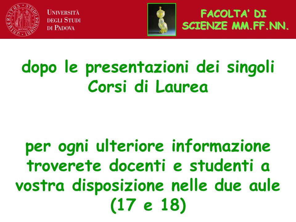 dopo le presentazioni dei singoli Corsi di Laurea per ogni ulteriore informazione troverete docenti e studenti a vostra disposizione nelle due aule (17 e 18) FACOLTA' DI SCIENZE MM.FF.NN.