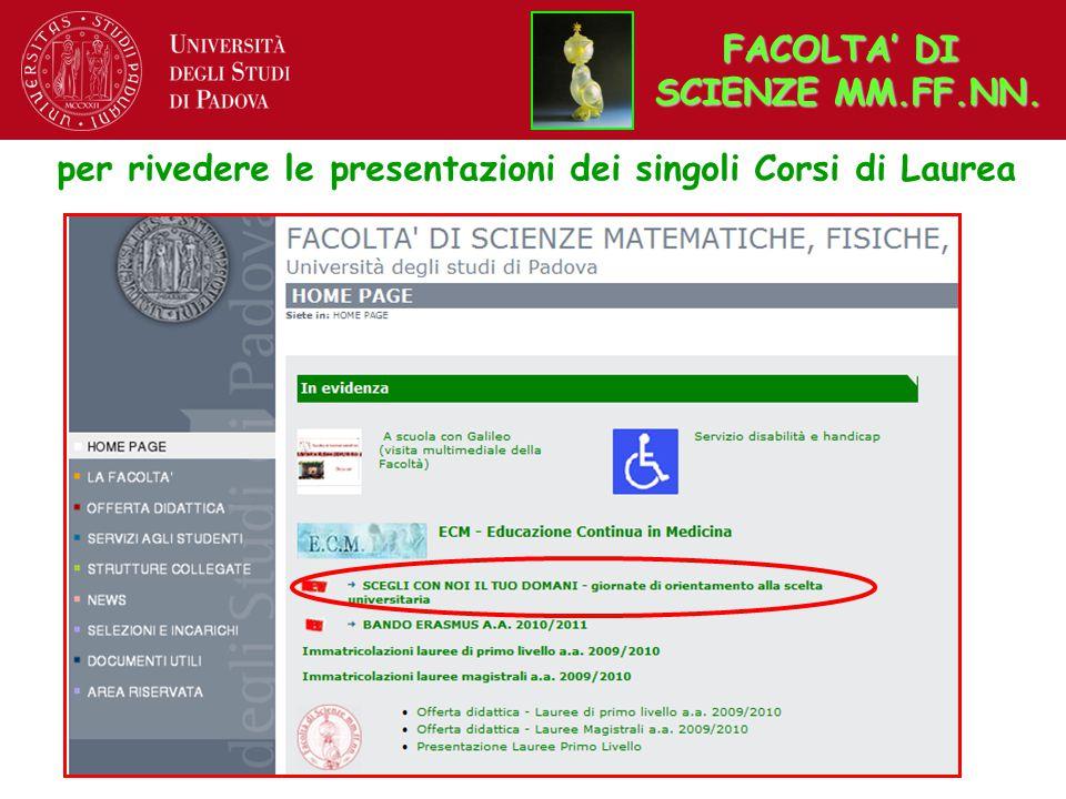 FACOLTA' DI SCIENZE MM.FF.NN. FACOLTA' DI SCIENZE MM.FF.NN.