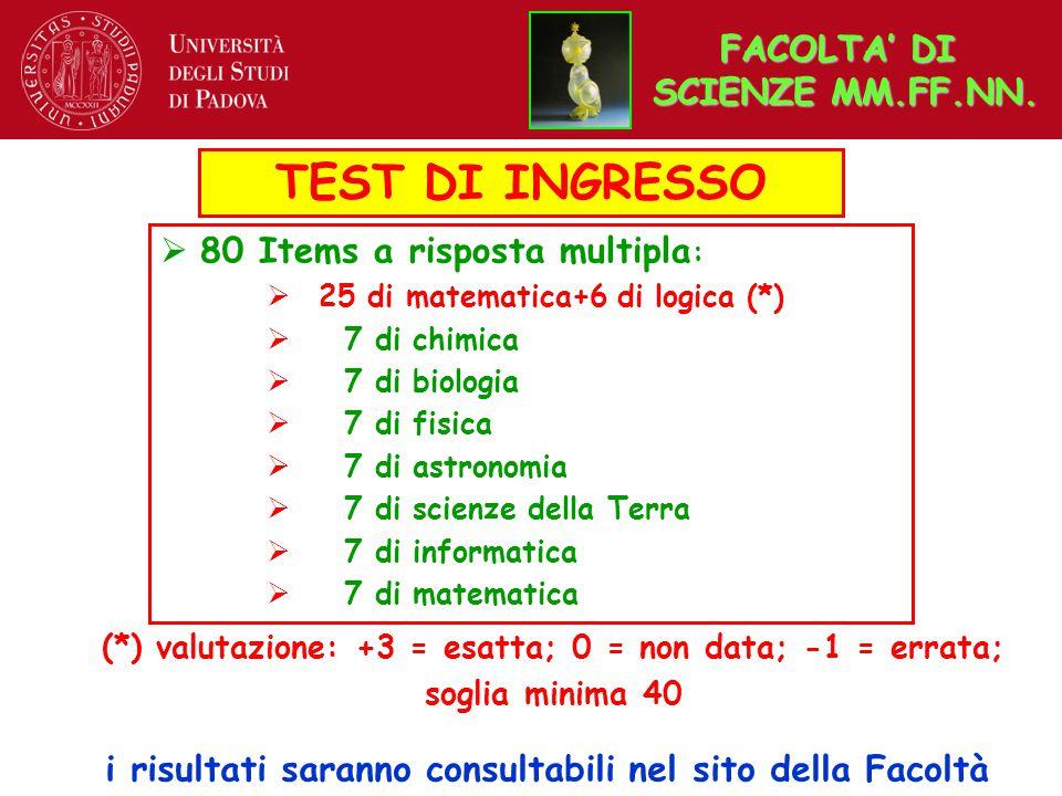 TEST DI INGRESSO  80 Items a risposta multipla :  25 di matematica+6 di logica (*)  7 di chimica  7 di biologia  7 di fisica  7 di astronomia 