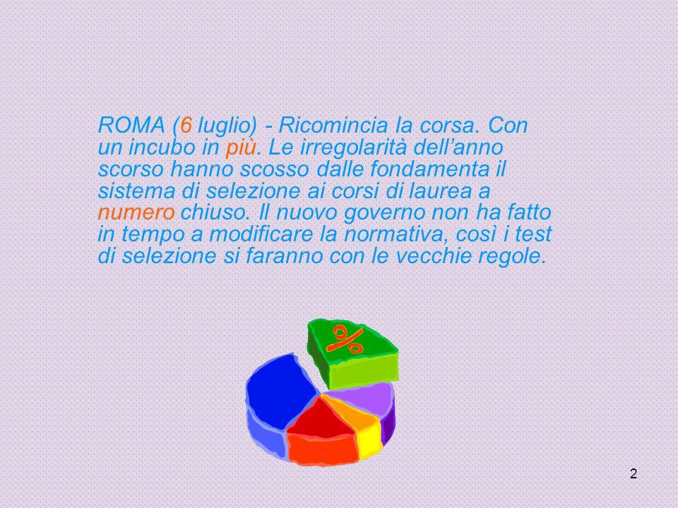 2 ROMA (6 luglio) - Ricomincia la corsa. Con un incubo in più. Le irregolarità dell'anno scorso hanno scosso dalle fondamenta il sistema di selezione