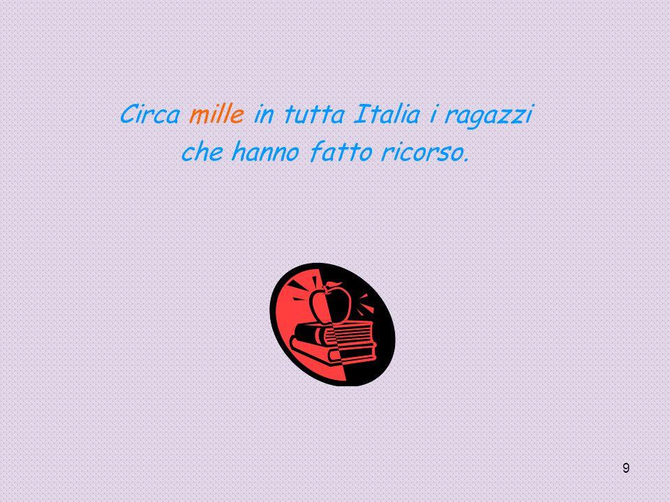 9 Circa mille in tutta Italia i ragazzi che hanno fatto ricorso.