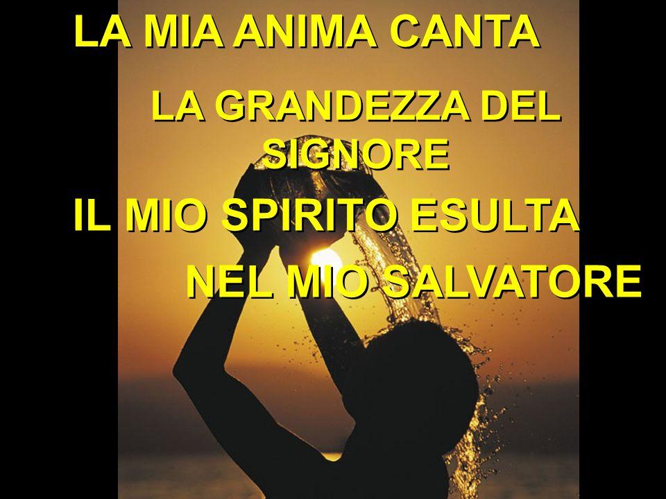 LA MIA ANIMA CANTA LA GRANDEZZA DEL SIGNORE NEL MIO SALVATORE IL MIO SPIRITO ESULTA