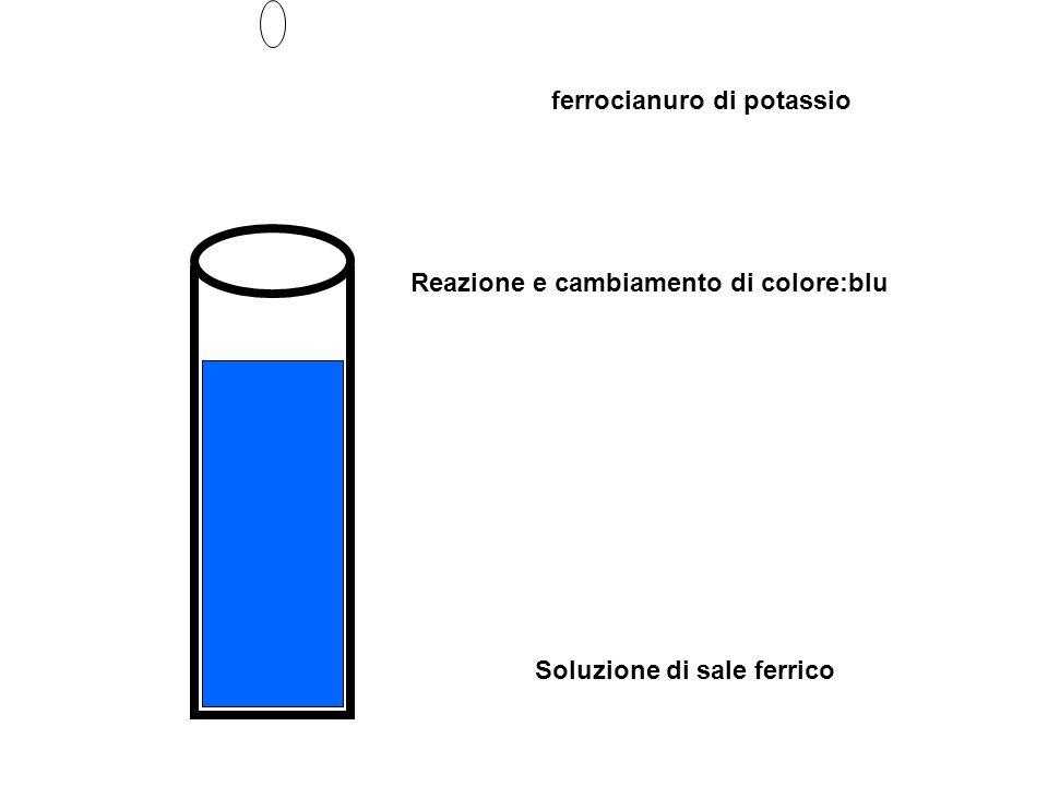 Soluzione di sale ferrico ferrocianuro di potassio Reazione e cambiamento di colore:blu
