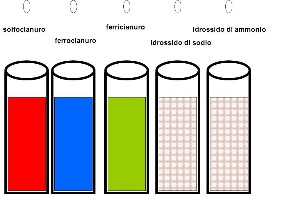 Soluzione di sale ferroso Ferrocianuro di potassio Reazione e cambiamento di colore:azzurro