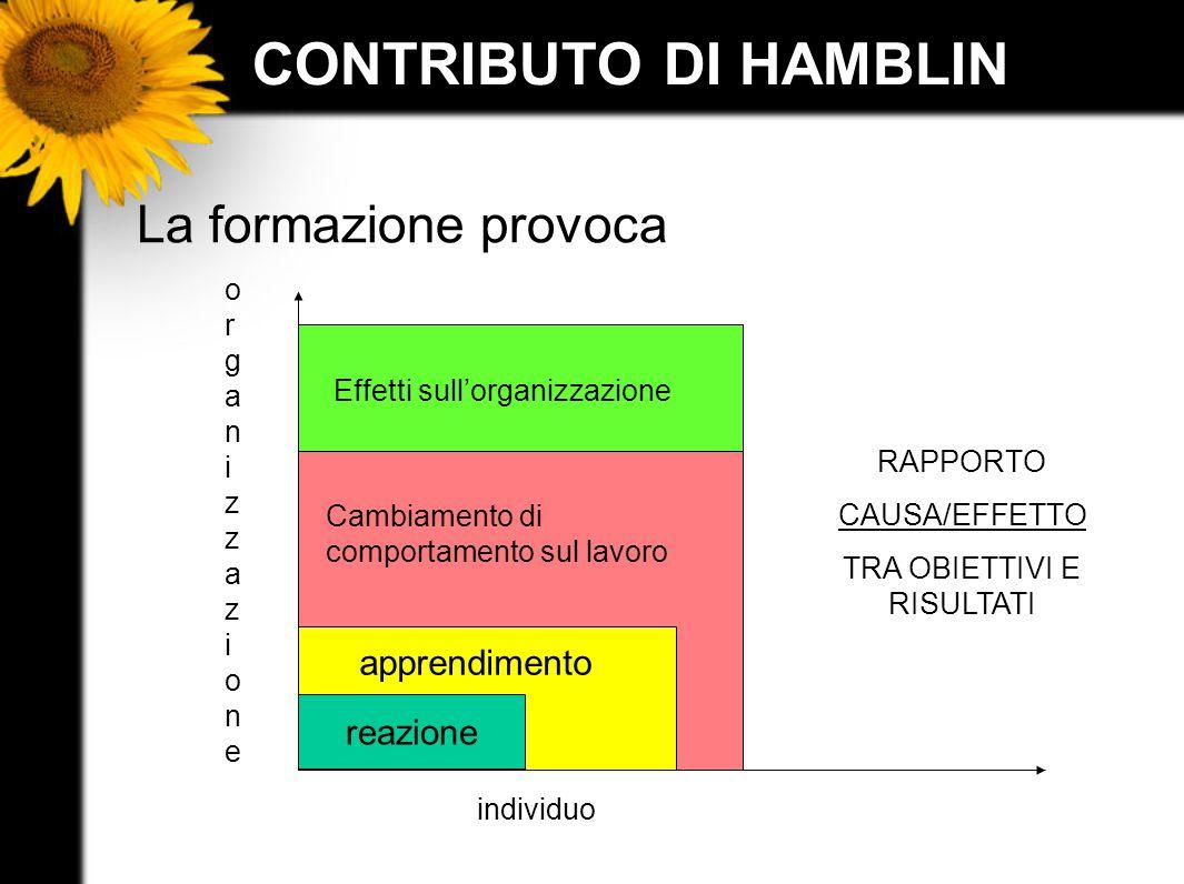 CONTRIBUTO DI HAMBLIN La formazione provoca organizzazioneorganizzazione individuo reazione apprendimento Cambiamento di comportamento sul lavoro Effe