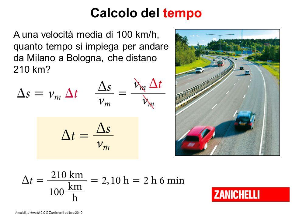 Amaldi, L'Amaldi 2.0 © Zanichelli editore 2010 Calcolo del tempo A una velocità media di 100 km/h, quanto tempo si impiega per andare da Milano a Bolo