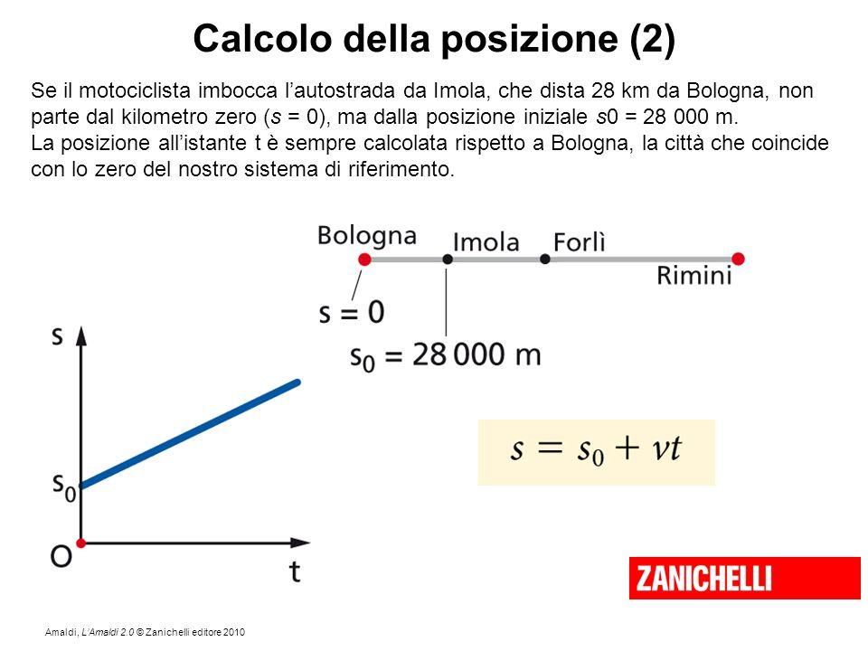 Amaldi, L'Amaldi 2.0 © Zanichelli editore 2010 Calcolo della posizione (2) Se il motociclista imbocca l'autostrada da Imola, che dista 28 km da Bologn