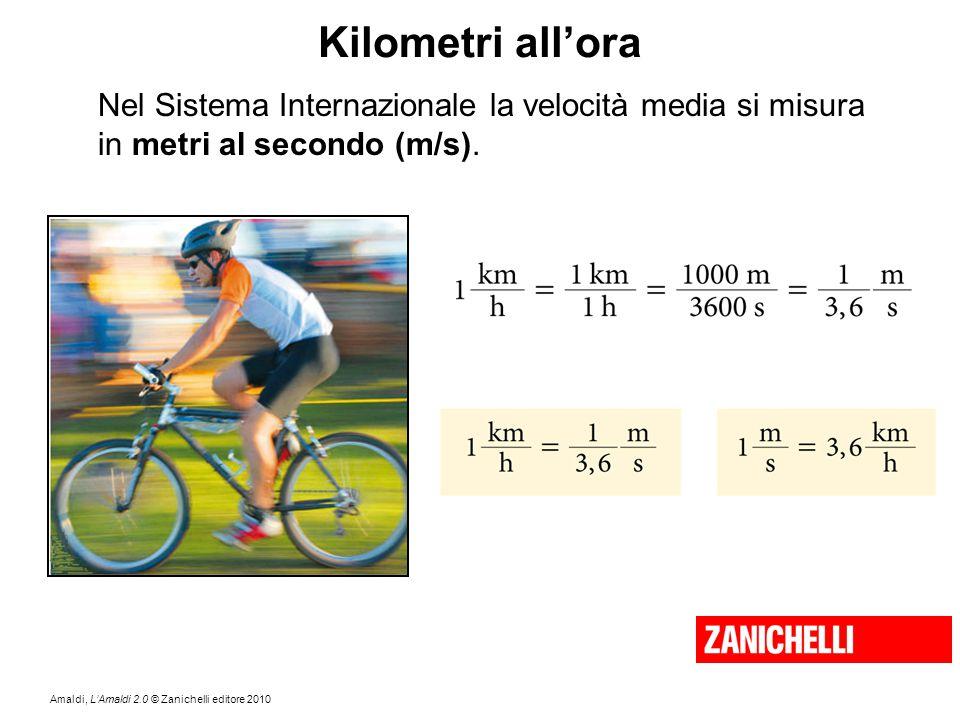 Amaldi, L'Amaldi 2.0 © Zanichelli editore 2010 Kilometri all'ora Nel Sistema Internazionale la velocità media si misura in metri al secondo (m/s).