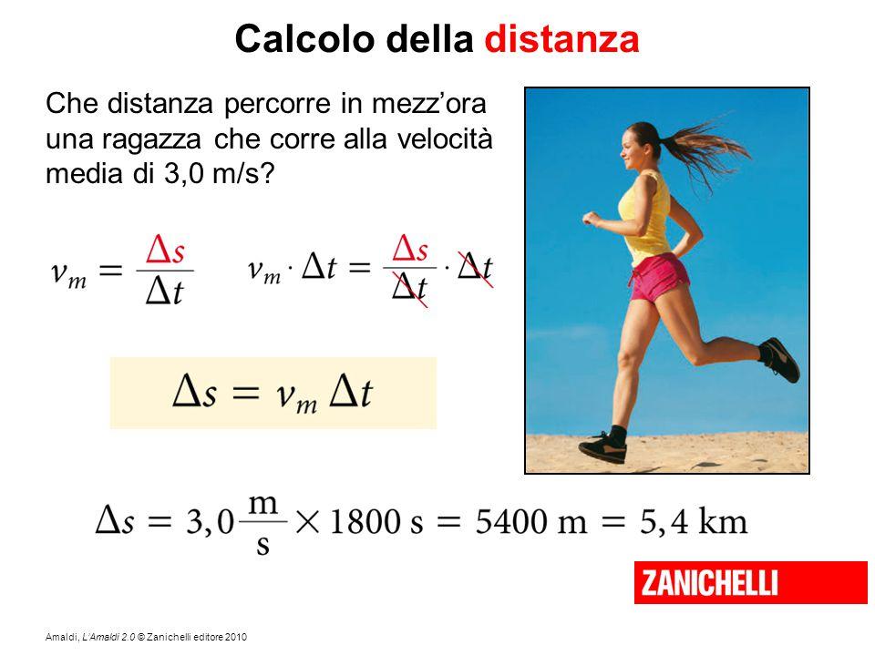 Amaldi, L'Amaldi 2.0 © Zanichelli editore 2010 Calcolo della distanza Che distanza percorre in mezz'ora una ragazza che corre alla velocità media di 3