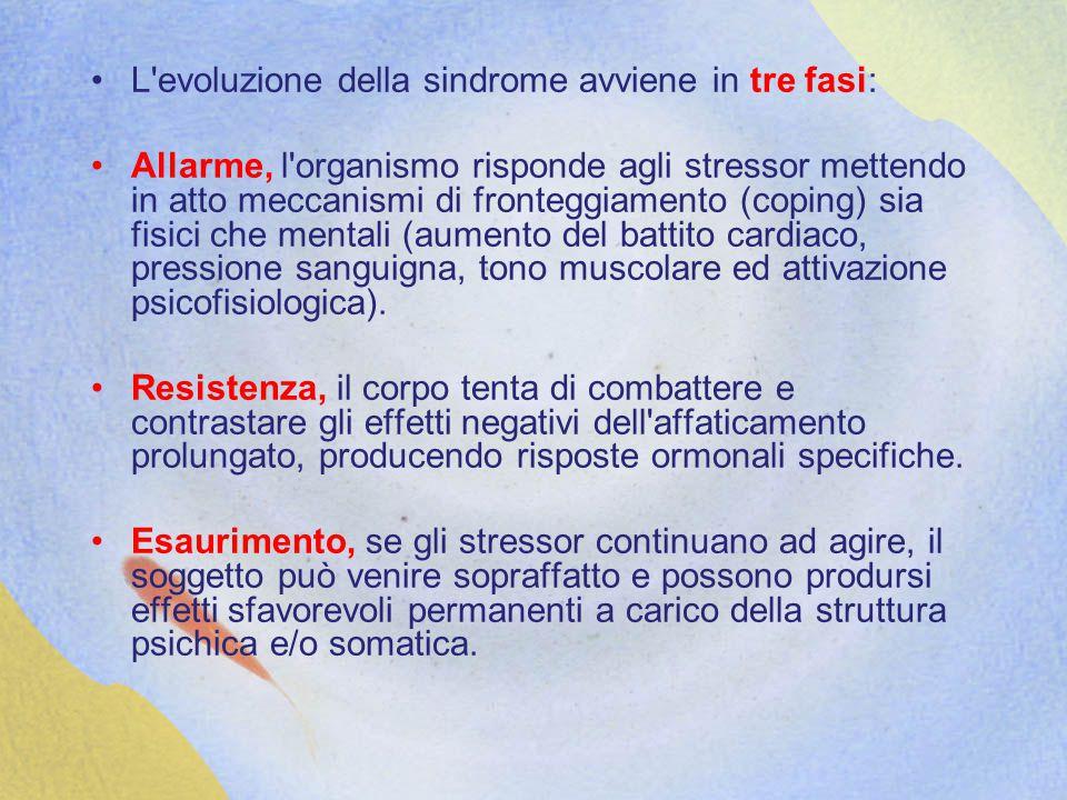 L evoluzione della sindrome avviene in tre fasi: Allarme, l organismo risponde agli stressor mettendo in atto meccanismi di fronteggiamento (coping) sia fisici che mentali (aumento del battito cardiaco, pressione sanguigna, tono muscolare ed attivazione psicofisiologica).