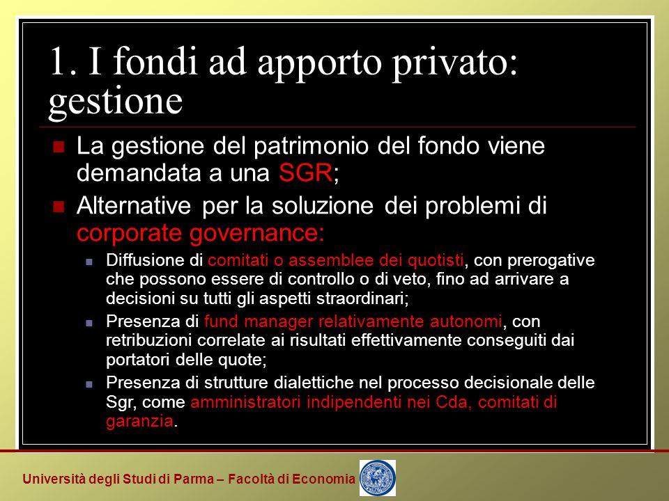 Università degli Studi di Parma – Facoltà di Economia 1. I fondi ad apporto privato: gestione