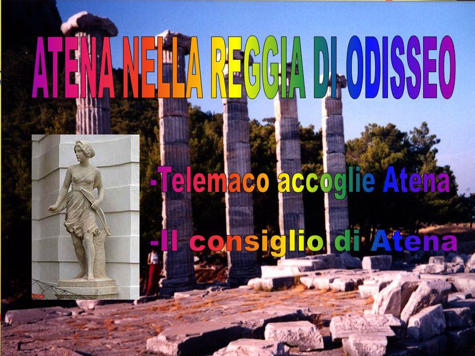 Atena, assumendo le sembianze di Mente, re dei Tafi, si reca alla reggia di Odisseo.