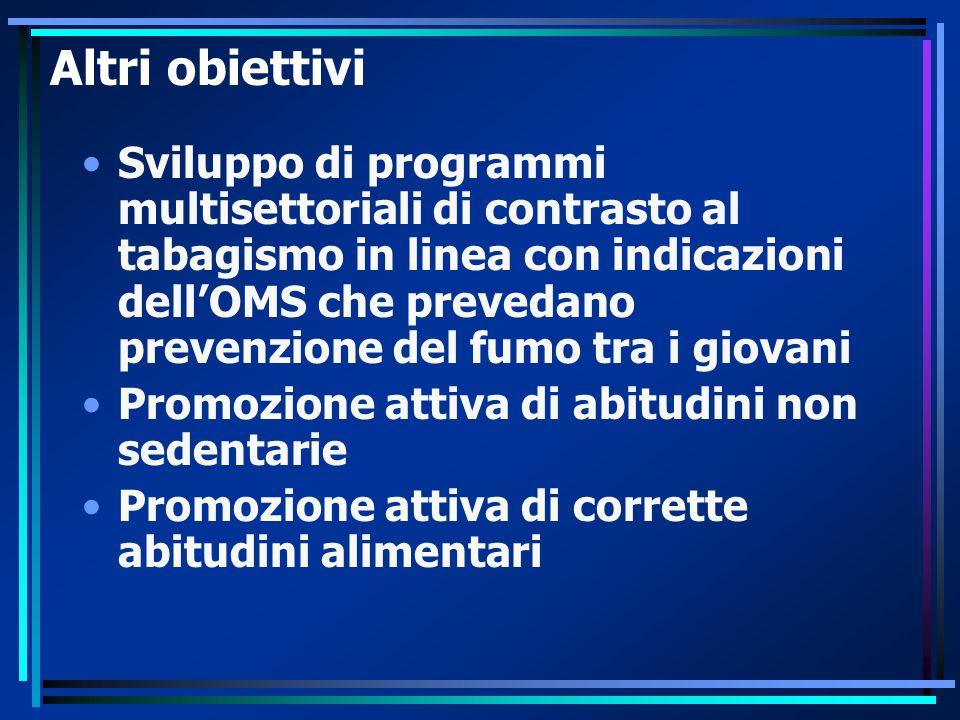 Altri obiettivi Sviluppo di programmi multisettoriali di contrasto al tabagismo in linea con indicazioni dell'OMS che prevedano prevenzione del fumo t