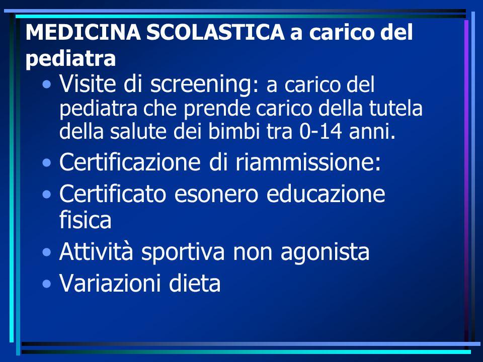 MEDICINA SCOLASTICA a carico del pediatra Visite di screening : a carico del pediatra che prende carico della tutela della salute dei bimbi tra 0-14 anni.