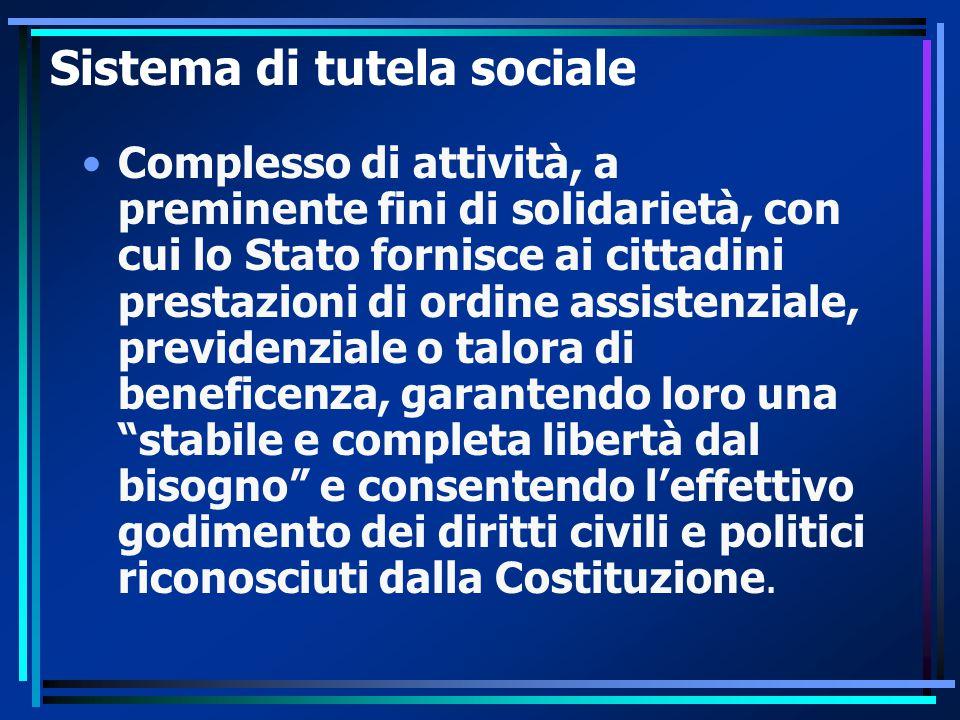 Sistema di tutela sociale Complesso di attività, a preminente fini di solidarietà, con cui lo Stato fornisce ai cittadini prestazioni di ordine assist