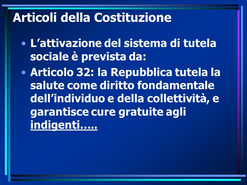 Articoli della Costituzione L'attivazione del sistema di tutela sociale è prevista da: Articolo 32: la Repubblica tutela la salute come diritto fondamentale dell'individuo e della collettività, e garantisce cure gratuite agli indigenti…..