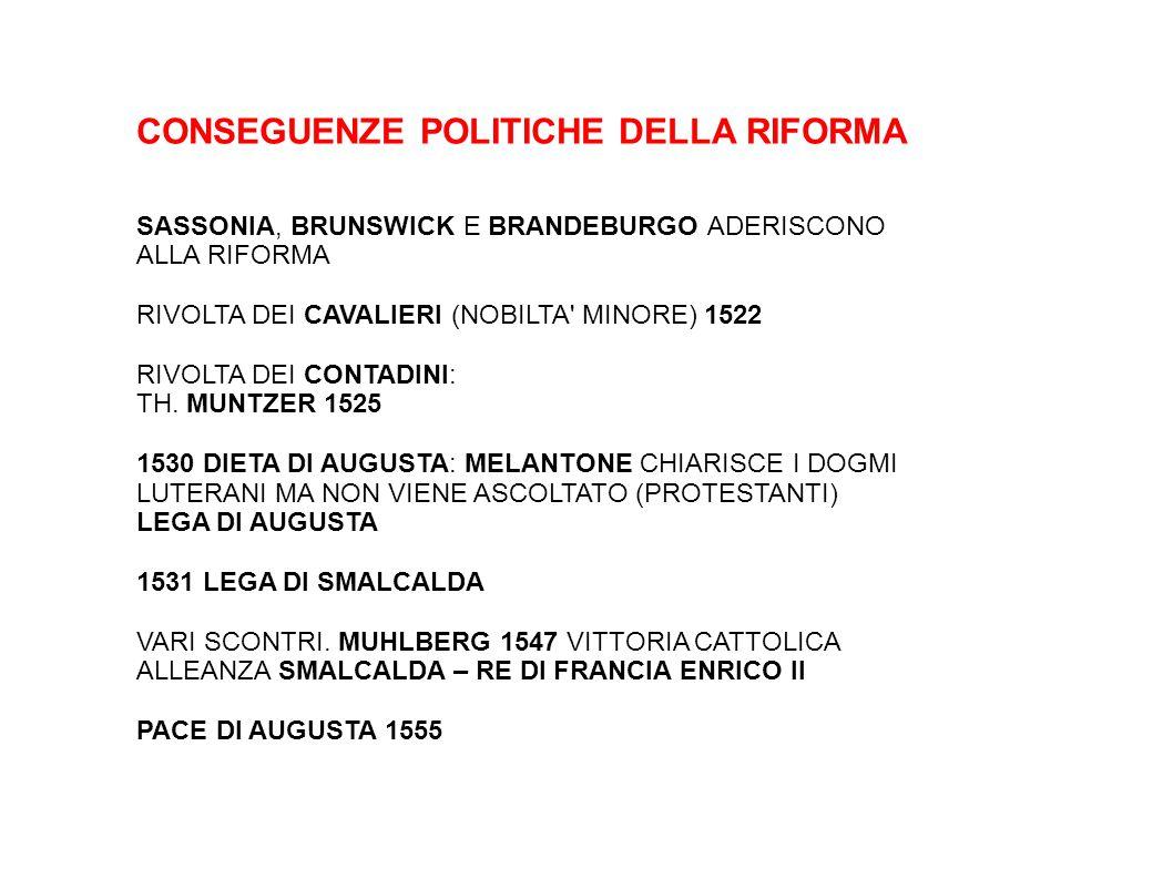 CONSEGUENZE POLITICHE DELLA RIFORMA SASSONIA, BRUNSWICK E BRANDEBURGO ADERISCONO ALLA RIFORMA RIVOLTA DEI CAVALIERI (NOBILTA' MINORE) 1522 RIVOLTA DEI