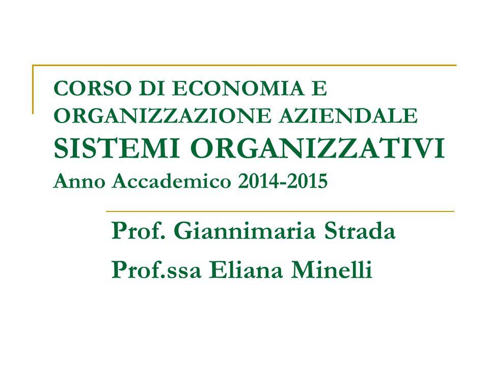 CORSO DI ECONOMIA E ORGANIZZAZIONE AZIENDALE SISTEMI ORGANIZZATIVI Anno Accademico 2014-2015 Prof.