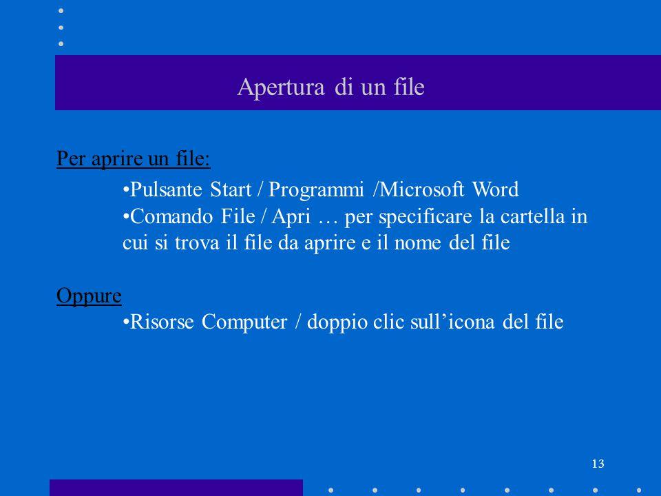 13 Apertura di un file Per aprire un file: Pulsante Start / Programmi /Microsoft Word Comando File / Apri … per specificare la cartella in cui si trova il file da aprire e il nome del file Oppure Risorse Computer / doppio clic sull'icona del file