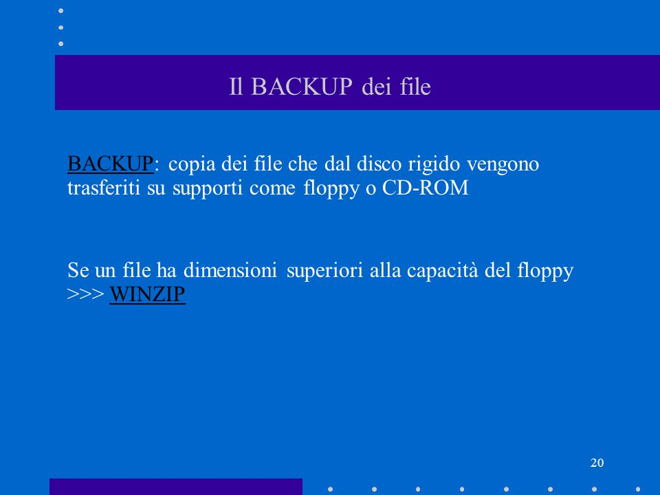 20 Il BACKUP dei file BACKUP: copia dei file che dal disco rigido vengono trasferiti su supporti come floppy o CD-ROM Se un file ha dimensioni superiori alla capacità del floppy >>> WINZIP