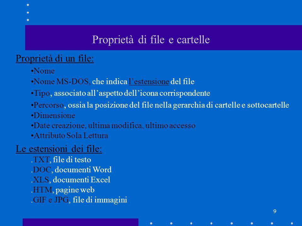 9 Proprietà di file e cartelle Proprietà di un file: Nome Nome MS-DOS, che indica l'estensione del file Tipo, associato all'aspetto dell'icona corrispondente Percorso, ossia la posizione del file nella gerarchia di cartelle e sottocartelle Dimensione Date creazione, ultima modifica, ultimo accesso Attributo Sola Lettura Le estensioni dei file:.TXT, file di testo.DOC, documenti Word.XLS, documenti Excel.HTM, pagine web.GIF e JPG, file di immagini