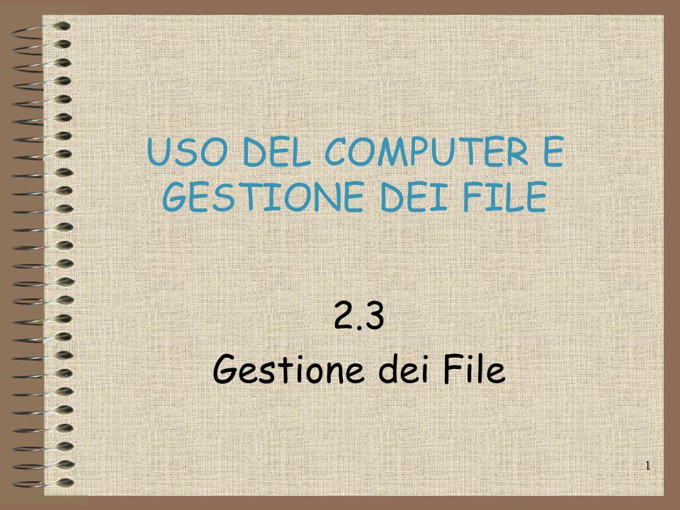 1 USO DEL COMPUTER E GESTIONE DEI FILE 2.3 Gestione dei File