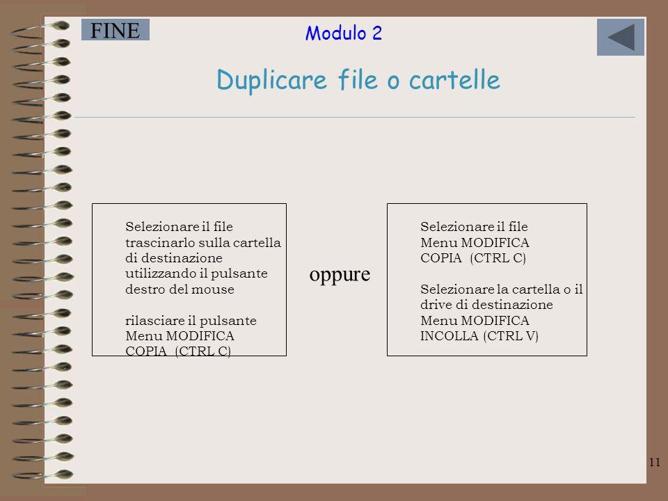 Modulo 2 FINE 11 Duplicare file o cartelle Selezionare il file trascinarlo sulla cartella di destinazione utilizzando il pulsante destro del mouse rilasciare il pulsante Menu MODIFICA COPIA (CTRL C) Selezionare il file Menu MODIFICA COPIA (CTRL C) Selezionare la cartella o il drive di destinazione Menu MODIFICA INCOLLA (CTRL V) oppure