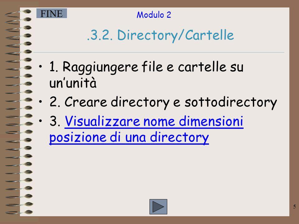 Modulo 2 FINE 6 Proprietà di una directory Posizione Dimensioni Nome Contenuto