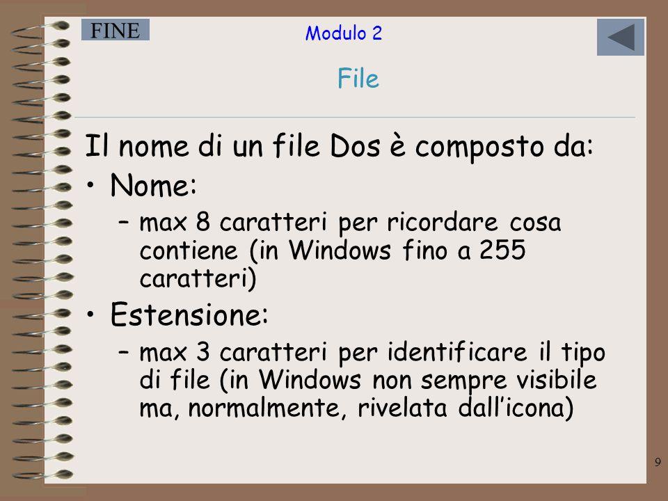 Modulo 2 FINE 9 Il nome di un file Dos è composto da: Nome: –max 8 caratteri per ricordare cosa contiene (in Windows fino a 255 caratteri) Estensione: –max 3 caratteri per identificare il tipo di file (in Windows non sempre visibile ma, normalmente, rivelata dall'icona) File