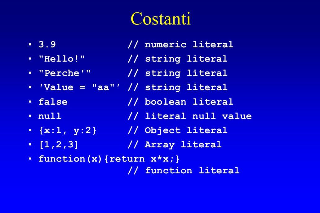 Costanti 3.9 // numeric literal