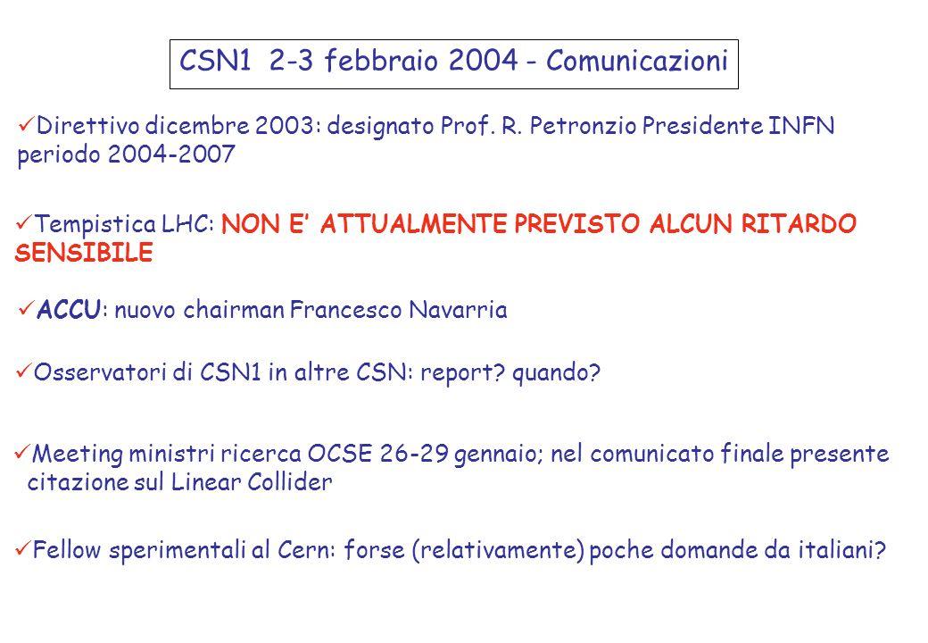 CSN1 2-3 febbraio 2004 - Comunicazioni Direttivo dicembre 2003: designato Prof.