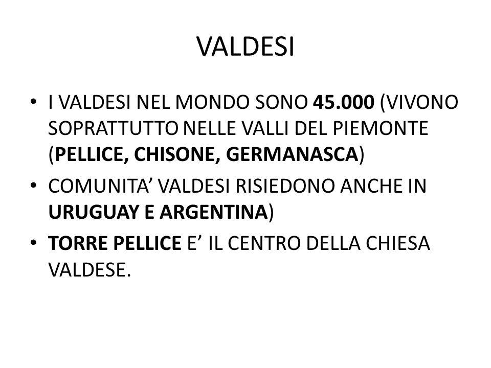VALDESI I VALDESI NEL MONDO SONO 45.000 (VIVONO SOPRATTUTTO NELLE VALLI DEL PIEMONTE (PELLICE, CHISONE, GERMANASCA) COMUNITA' VALDESI RISIEDONO ANCHE