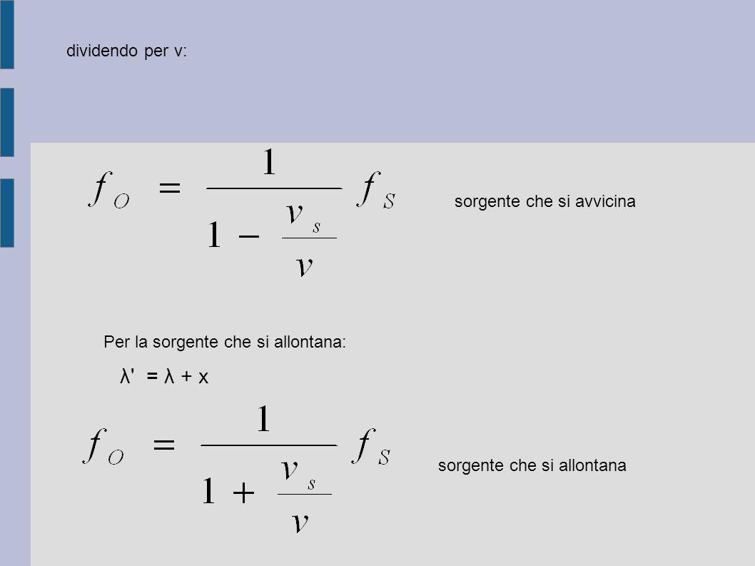 dividendo per v: sorgente che si avvicina Per la sorgente che si allontana: λ' = λ + x sorgente che si allontana
