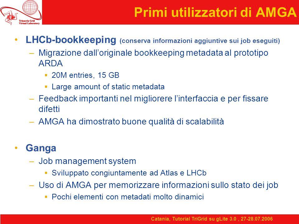 Catania, Tutorial TriGrid su gLite 3.0, 27-28.07.2006 Primi utilizzatori di AMGA LHCb-bookkeeping (conserva informazioni aggiuntive sui job eseguiti) –Migrazione dall'originale bookkeeping metadata al prototipo ARDA  20M entries, 15 GB  Large amount of static metadata –Feedback importanti nel migliorere l'interfaccia e per fissare difetti –AMGA ha dimostrato buone qualità di scalabilità Ganga –Job management system  Sviluppato congiuntamente ad Atlas e LHCb –Uso di AMGA per memorizzare informazioni sullo stato dei job  Pochi elementi con metadati molto dinamici