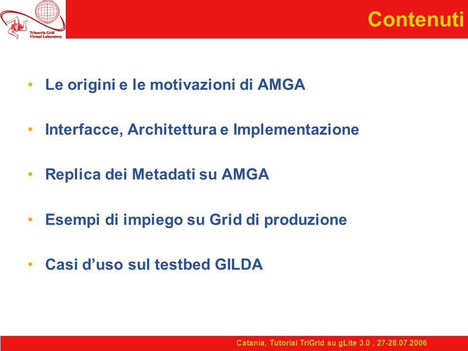 Contenuti Le origini e le motivazioni di AMGA Interfacce, Architettura e Implementazione Replica dei Metadati su AMGA Esempi di impiego su Grid di produzione Casi d'uso sul testbed GILDA