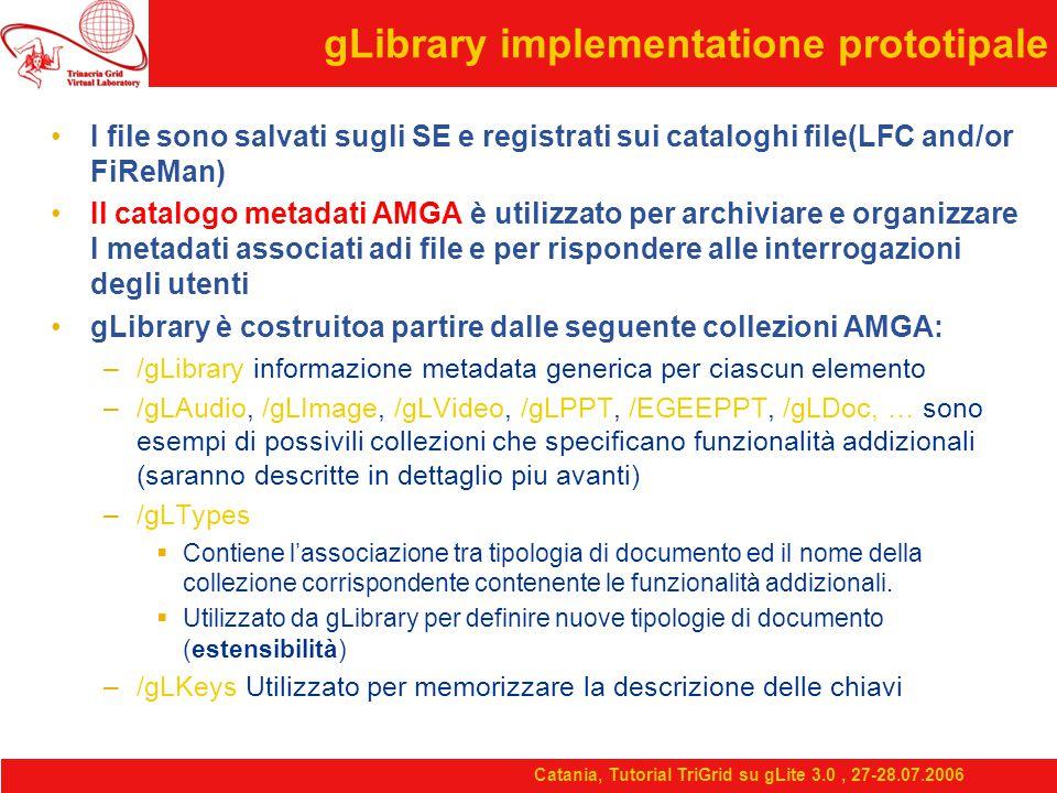 Catania, Tutorial TriGrid su gLite 3.0, 27-28.07.2006 gLibrary implementatione prototipale I file sono salvati sugli SE e registrati sui cataloghi file(LFC and/or FiReMan) Il catalogo metadati AMGA è utilizzato per archiviare e organizzare I metadati associati adi file e per rispondere alle interrogazioni degli utenti gLibrary è costruitoa partire dalle seguente collezioni AMGA: –/gLibrary informazione metadata generica per ciascun elemento –/gLAudio, /gLImage, /gLVideo, /gLPPT, /EGEEPPT, /gLDoc, … sono esempi di possivili collezioni che specificano funzionalità addizionali (saranno descritte in dettaglio piu avanti) –/gLTypes  Contiene l'associazione tra tipologia di documento ed il nome della collezione corrispondente contenente le funzionalità addizionali.