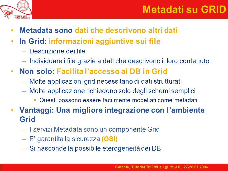 Catania, Tutorial TriGrid su gLite 3.0, 27-28.07.2006 Metadati su GRID Metadata sono dati che descrivono altri dati In Grid: informazioni aggiuntive sui file –Descrizione dei file –Individuare i file grazie a dati che descrivono il loro contenuto Non solo: Facilita l'accesso ai DB in Grid –Molte applicazioni grid necessitano di dati strutturati –Molte applicazione richiedono solo degli schemi semplici  Questi possono essere facilmente modellati come metadati Vantaggi: Una migliore integrazione con l'ambiente Grid –I servizi Metadata sono un componente Grid –E' garantita la sicurezza (GSI) –Si nasconde la possibile eterogeneità dei DB