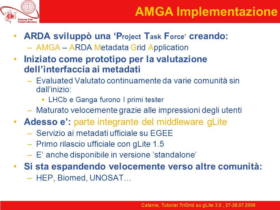 Catania, Tutorial TriGrid su gLite 3.0, 27-28.07.2006 AMGA Implementazione ARDA sviluppò una 'P roject T ask F orce' creando: –AMGA – ARDA Metadata Grid Application Iniziato come prototipo per la valutazione dell'interfaccia ai metadati –Evaluated Valutato continuamente da varie comunità sin dall'inizio:  LHCb e Ganga furono I primi tester –Maturato velocemente grazie alle impressioni degli utenti Adesso e': parte integrante del middleware gLite –Servizio ai metadati ufficiale su EGEE –Primo rilascio ufficiale con gLite 1.5 –E' anche disponibile in versione 'standalone' Si sta espandendo velocemente verso altre comunità: –HEP, Biomed, UNOSAT…