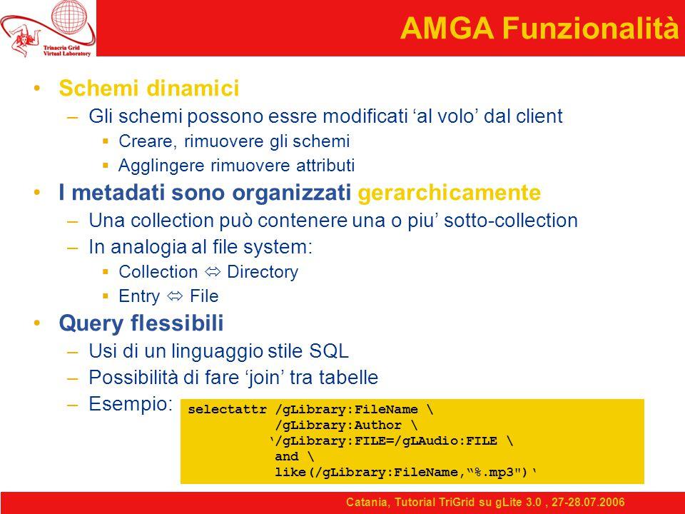 Catania, Tutorial TriGrid su gLite 3.0, 27-28.07.2006 AMGA Funzionalità Schemi dinamici –Gli schemi possono essre modificati 'al volo' dal client  Creare, rimuovere gli schemi  Agglingere rimuovere attributi I metadati sono organizzati gerarchicamente –Una collection può contenere una o piu' sotto-collection –In analogia al file system:  Collection  Directory  Entry  File Query flessibili –Usi di un linguaggio stile SQL –Possibilità di fare 'join' tra tabelle –Esempio: selectattr /gLibrary:FileName \ /gLibrary:Author \ '/gLibrary:FILE=/gLAudio:FILE \ and \ like(/gLibrary:FileName, %.mp3 )'