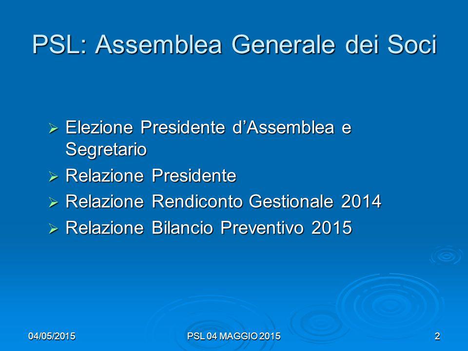 04/05/2015PSL 04 MAGGIO 20152 PSL: Assemblea Generale dei Soci  Elezione Presidente d'Assemblea e Segretario  Relazione Presidente  Relazione Rendiconto Gestionale 2014  Relazione Bilancio Preventivo 2015