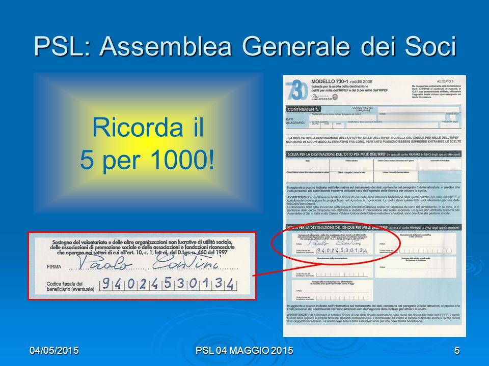 04/05/2015PSL 04 MAGGIO 20156 PSL: Assemblea Generale dei Soci  Varie ed eventuali