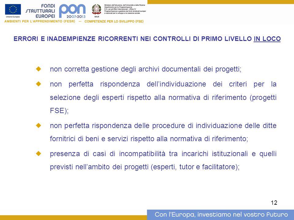12 ERRORI E INADEMPIENZE RICORRENTI NEI CONTROLLI DI PRIMO LIVELLO IN LOCO  non corretta gestione degli archivi documentali dei progetti;  non perfe
