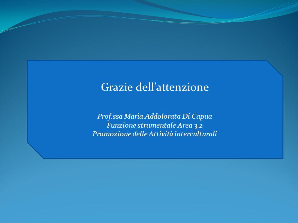 Grazie dell'attenzione Prof.ssa Maria Addolorata Di Capua Funzione strumentale Area 3.2 Promozione delle Attività interculturali