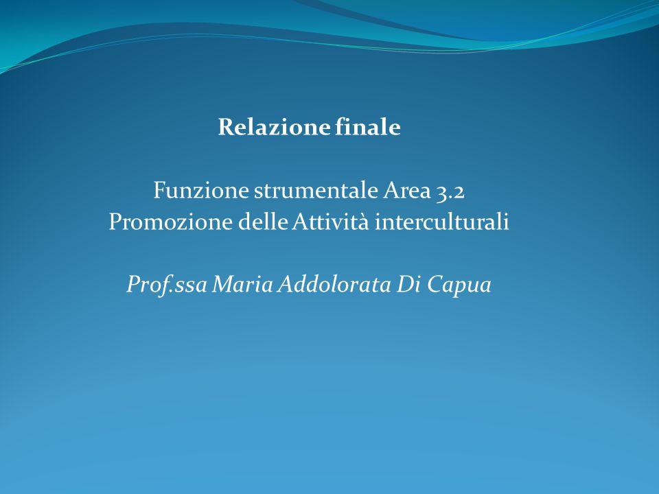 Relazione finale Funzione strumentale Area 3.2 Promozione delle Attività interculturali Prof.ssa Maria Addolorata Di Capua