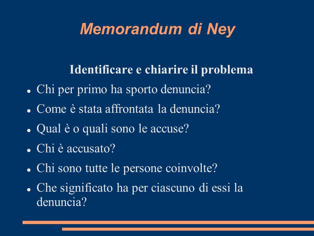 Memorandum di Ney Identificare e chiarire il problema Chi per primo ha sporto denuncia? Come è stata affrontata la denuncia? Qual è o quali sono le ac