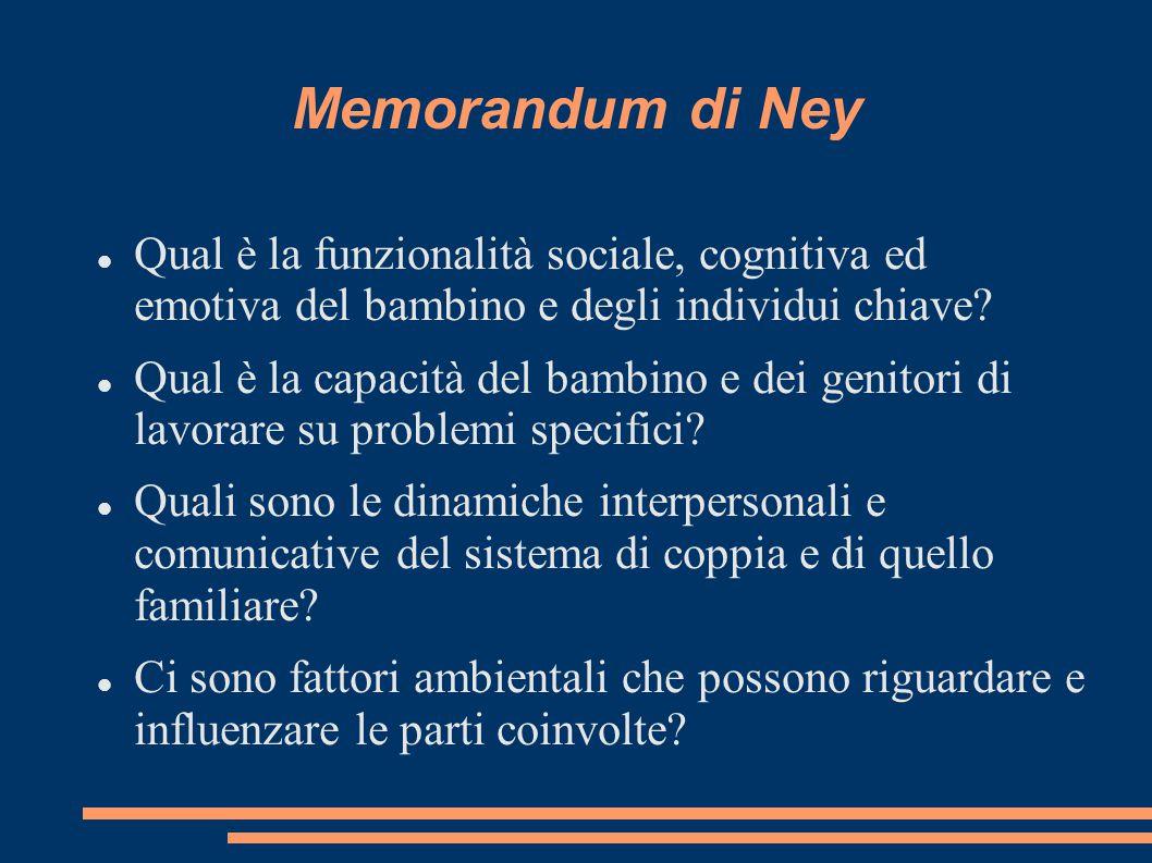 Memorandum di Ney Qual è la funzionalità sociale, cognitiva ed emotiva del bambino e degli individui chiave? Qual è la capacità del bambino e dei geni
