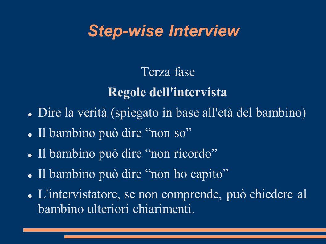 Step-wise Interview Quarta fase Narrazione libera Sai perché ci troviamo qui oggi? C è qualcosa di cui vuoi parlarmi? Il mio lavoro è di parlare con bambini delle cose che sono loro accadute.
