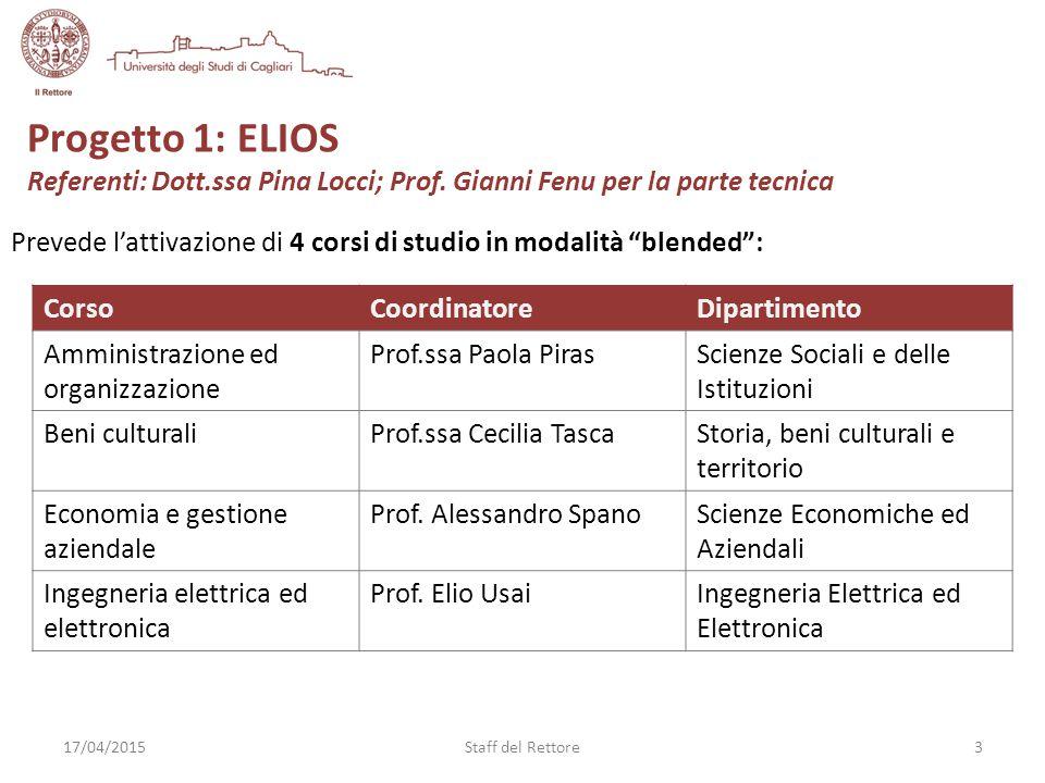 Progetto 1: ELIOS Referenti: Dott.ssa Pina Locci; Prof.