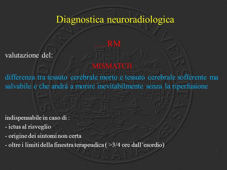 Diagnostica neuroradiologica ….. RM valutazione del: MISMATCH differenza tra tessuto cerebrale morto e tessuto cerebrale sofferente ma salvabile e che